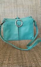 Pouchee jade green leather crossbody bag women's purse small