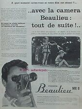 PUBLICITE BEAULIEU CAMERA MR 8 MONO OBJECTIF ZOOM DE 1960 FRENCH AD PUB VINTAGE