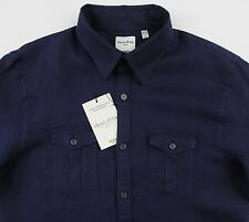 Men's MURANO Navy Blue Linen Pocket Fitted Shirt Extra Large XL NWT NEW Nice!