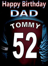 ASTON VILLA FOOTBALL FAN Personalised Birthday Card!! any name/number/relation..
