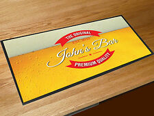 Personalised Any Name Beer label bar runner counter mat Pubs & Cocktail Bars