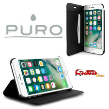PURO Flip Wallet Cover BOOKLET Per iPhone 7 PLUS Custodia in Pelle Stand up NERA
