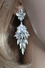 Handmade Crystal & Pearl Shourouk Leaf Dangle Bridal Earrings (Pearl-760-U)