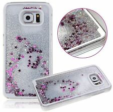 Samsung Galaxy S7 SILVER Hard Flowing Liquid Case Cover Waterfall Glitter Stars