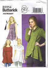 Easy Stretch Knit Pullover Fit Flared Top Tunic Cowl Sewing Pattern L XL XXL