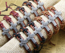 12x/lot adjustable leather bracelets popu religion gifts cross cuff jewelry men