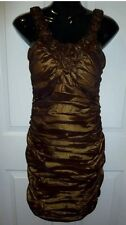 EVENTS Dress Bronze Gold Ruched with rosette trim Size 8 Worn once