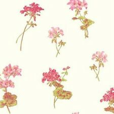 Wallpaper Designer Pink Red and Green Floral Toss on White