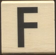 F SOLID Upper Case LETTER Alphabet 2x2 Medium Wood Mount CRAFT RUBBER STAMP New