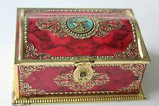 Vintage  West Germany LINETTE Chest Tin  Box Marble Red/ Gold Embossed  Unique