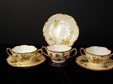 3 LIMOGES Antique T&V RAISED GOLD Soup Cup & Saucer Aesthetic Butterfly Berry