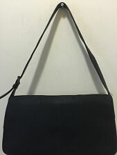 COACH 7413 BLACK MICROFIBER SHOULDER BAG W LEATHER TRIM H:7 L:12 D:2 SD:12