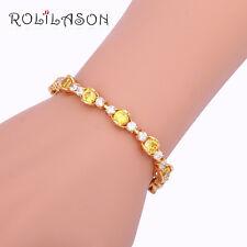 TB985A Yellow Zircon Charm Bracelet 18K Gold Plated Fashion Jewelry
