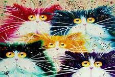 "16X20"" Five Cats DIY Paint By Number Kit Acrylic Oil Painting On Canvas 1518"