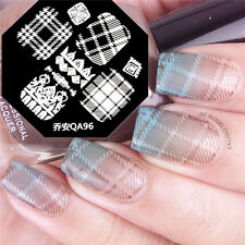 Ongle Nail Art Stamping plaque pochoir Template Stylish Plaid Stripe QA96