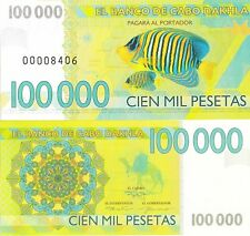 Cabo Dakhla 100000 pesetas 2013 UNC Clownfish Anemonefish - Private Issue