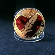 Gold Plated Feather Coin, Like Bitcoin, Red Heart, Love Token (6)
