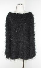 NWT VINTAGE CELINE PARIS BLACK SHAGGY TINSEL EVENING TUNIC TOP 42