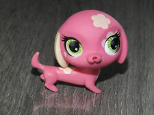 littlest petshop pink DACHSHUND dog flower green eyes 2735 lps pet shop