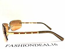 New Authentic Chanel Gold/Orange Leather 4113 C.219/7H Sunglasses