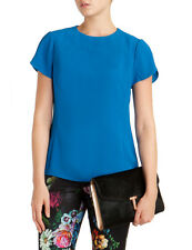 TED BAKER Blue Chiffon MELLISA Short Sleeve Sweetheart Top ~ Sz 1 US 4 / XS NWOT