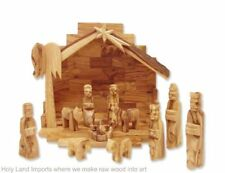 Olive Wood Nativity Set with Rustic Stable Bark Roof