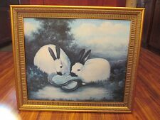 RABBITS GICLEE Print of Painting Ornate Frame Canvas P. ROLENCE Picture Wall Art