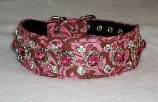 Rhinestone Dog Collar Designer Chocolate Pink Damask Crown Jewel Bling!