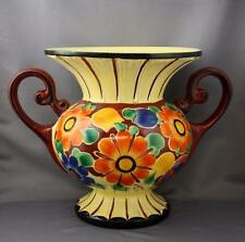 VTG Art Deco Czech Pottery Floral Trophy Vase Czechoslovakia Hand Painted