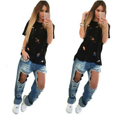 Womens Ladies Casual Summer Plain Round Neck Ripped T Shirt Tops Black/White S~L