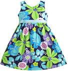 Sunny Fashion Girls Dress Blue Belt Flower Print Party Kids Sundress Size 2-10