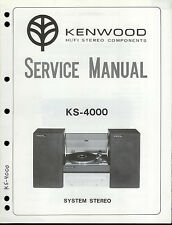 Factory Kenwood KS-4000 Stereo Receiver KS-3000 Turntable Service Manual