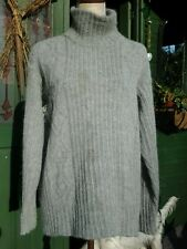 SPIRIT OF THE ANDES pure alpaca light grey cable roll neck jumper L 14/16