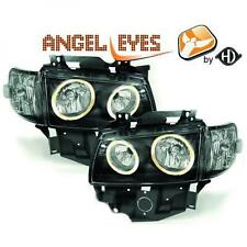 LHD Projector Headlights Pair Angel Eyes Clear Black VW T4 Caravelle 96-03
