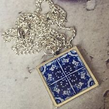 Unique TRADITIONAL SPANISH TILE NECKLACE blue white SPAIN morocco GIFT alhambra