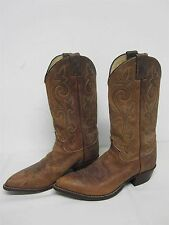 "MENS JUSTIN BROWN LEATHER ""BAY APACHE"" COWBOY BOOTS w EMBROIDERY SZ 9 D"