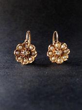 Très belles dormeuses anciennes or 18k Napoleon III marguerite perle et diamant