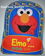 "SESAME STREET ELMO SCHOOL BACKPACK 16"" LARGE NWT BOYS BIRTHDAY GIFT KIDS CANVAS"