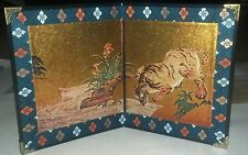 Japanese Fine Folding Screen with Box /Mint Condition/ Vintage/ Very Rare