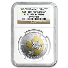 2013 Canadian Gilded Silver 25th Anniversary of the Maple Leaf - PF-69 UCAM NGC