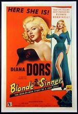BLONDE SINNER DIANA DORS BAD GIRL PINUP 1956 1-SHEET LINENBACKED