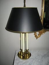VINTAGE HOLLYWOOD REGENCY  FRENCH BOUILLOTTE 3 CANDLE POLISHED BRASS TABLE LAMP