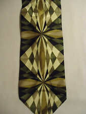 "Martin Wong Tie Tan White Gray Black Artsy Argyle Designs Silk 57"" NWT"