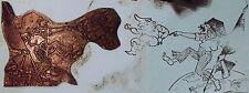 ANCIEN CLICHÉ D'IMPRIMERIE ( TAMPON ) CARICATURE SATIRIQUE HOMME & DRAPEAU