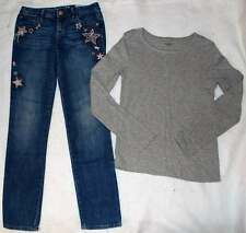 Gap Kids Dance Line Gray Shirt Top Star Glitter Embroidered Skinny Jeans M 10 Yr