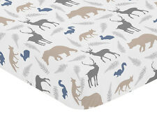 SWEET JOJO DESIGNS WOODLAND BABY CRIB OR TODDLER FITTED SHEET - ANIMAL PRINT