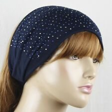 NAVY RHINESTONE STUDDED HEAD WRAP HAIRBAND HAIR BAND #LHP087