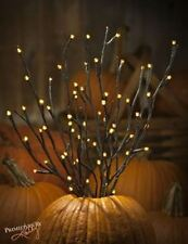 "HALLOWEEN 19"" BLACK GLITTER TWIG 60 PRELIT SEED/RICE LIGHTS~Electric~Branch~Tree"