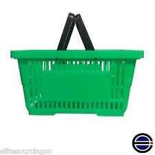 """12 Shopping Baskets, Plastic with plastic handle, 17""""L x 12""""W x 8""""D, Green"""