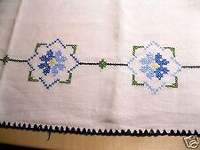 Alte Tischdecke Handbestickt Kreuzstich Stickerei Handarbeit Leinen blau schwarz